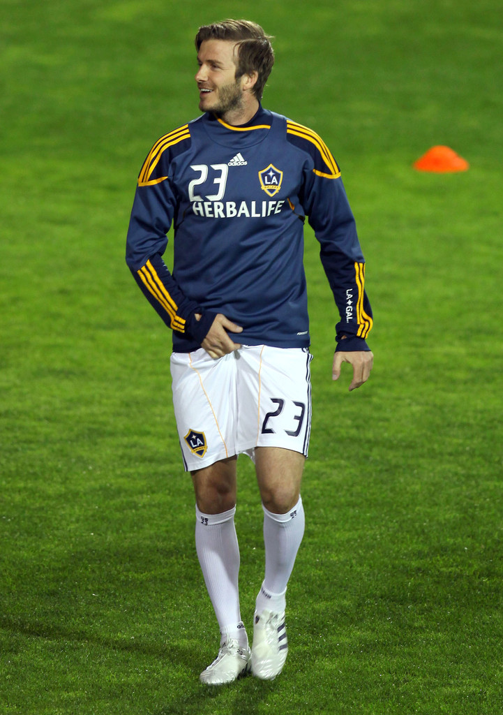 David Beckham And The LA Galaxy Playing A Soccer Match ...
