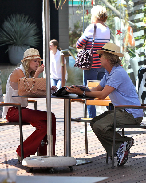 Comedian David Spade Enjoys Lunch With A Beautiful Blonde