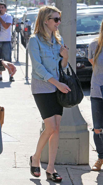 Actress Emma Roberts out shopping with friends at Agent Provocateur in West Hollywood, CA.