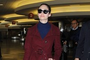 Emmy Rossum Arriving On A Flight At LAX