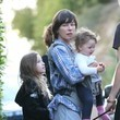 Ever Anderson Milla Jovovich, Paul W. S. Anderson and Their Family Take the Dog for a Walk in LA