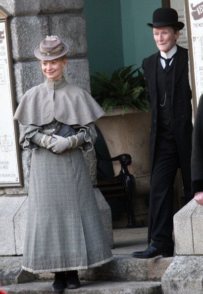 "Actresses Glenn Close and Mia Wasikowska film a scene for their new film ""Albert Nobbs"" at Dublin Castle in Dublin, Ireland."