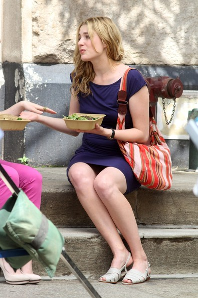 Actress Greta Gerwig on the set of 'Lola Versus' in New York City.