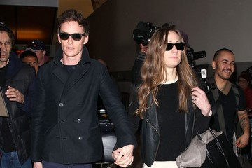 Hannah Bagshawe Eddie Redmayne and Hannah Bagshawe at LAX