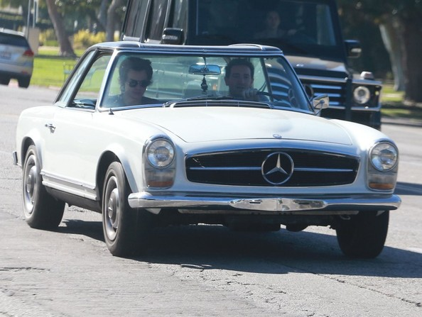 Harry Styles Cruising In A Vintage Mercedes