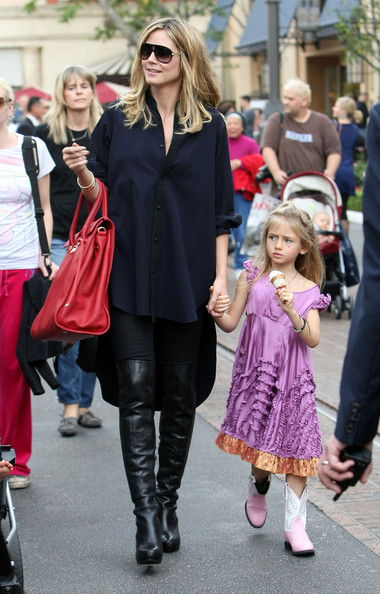 Model Heidi Klum and her husband Seal take their children Leni, Henry, Johan and Lou to a karate class and then to The Grove to do a little shopping in West Hollywood, CA.