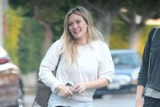Singer and actress Hilary Duff is spotted out with some friends in Los Angeles, California on December 20, 2014. Hilary has been very busy of late promoting her new music as well as filming her new TV series 'Younger'.