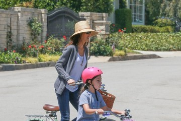 Jackie Sandler Adam Sandler and His Family Go for a Bike Ride in Brentwood