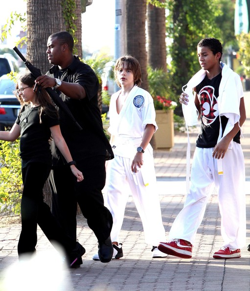 Paris Jackson Michael Jackson's kids Prince Michael, Paris and Blanket seen leaving a karate class in Los Angeles, CA. Blanket was so pumped he was still doing karate moves on the way to the car. Also with them was Michael's supposive son Omer Bhatti.