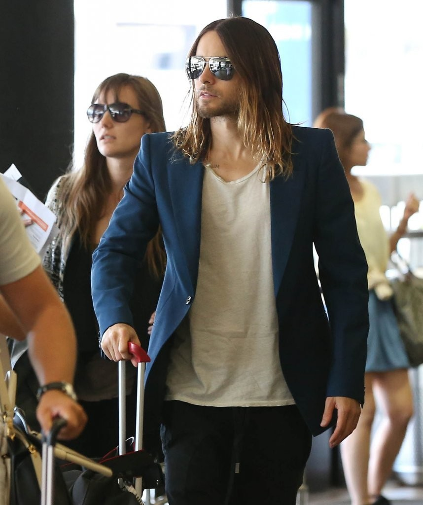 Jared Leto & His Girlfriend Departing On A Flight At LAX