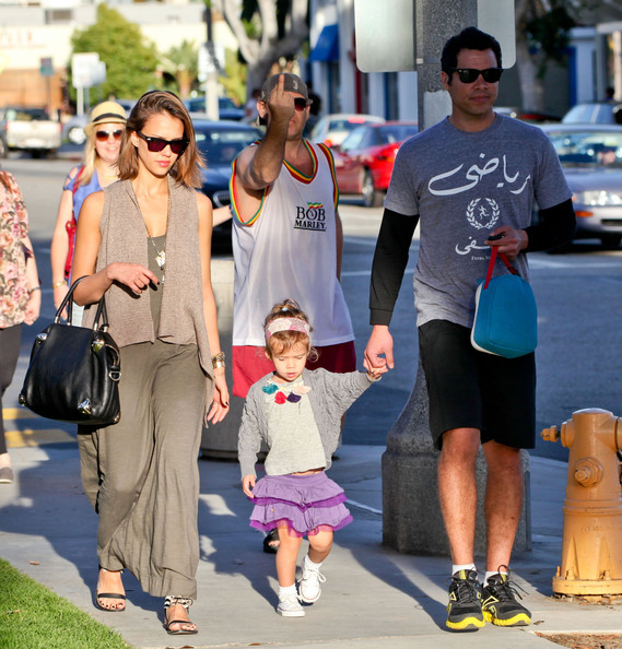 Actress Jessica Alba and her husband Cash Warren take their daughter Honor to a medical building in Santa Monica, CA.