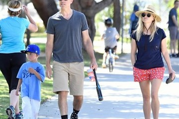 Jim Toth Reese Witherspoon and Jim Toth Watch Their Son's Baseball Game
