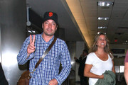 Late Night talk host Jimmy Fallon and his wife Nancy Juvonen LAX in Los Angeles, California on May 30th, 2012.