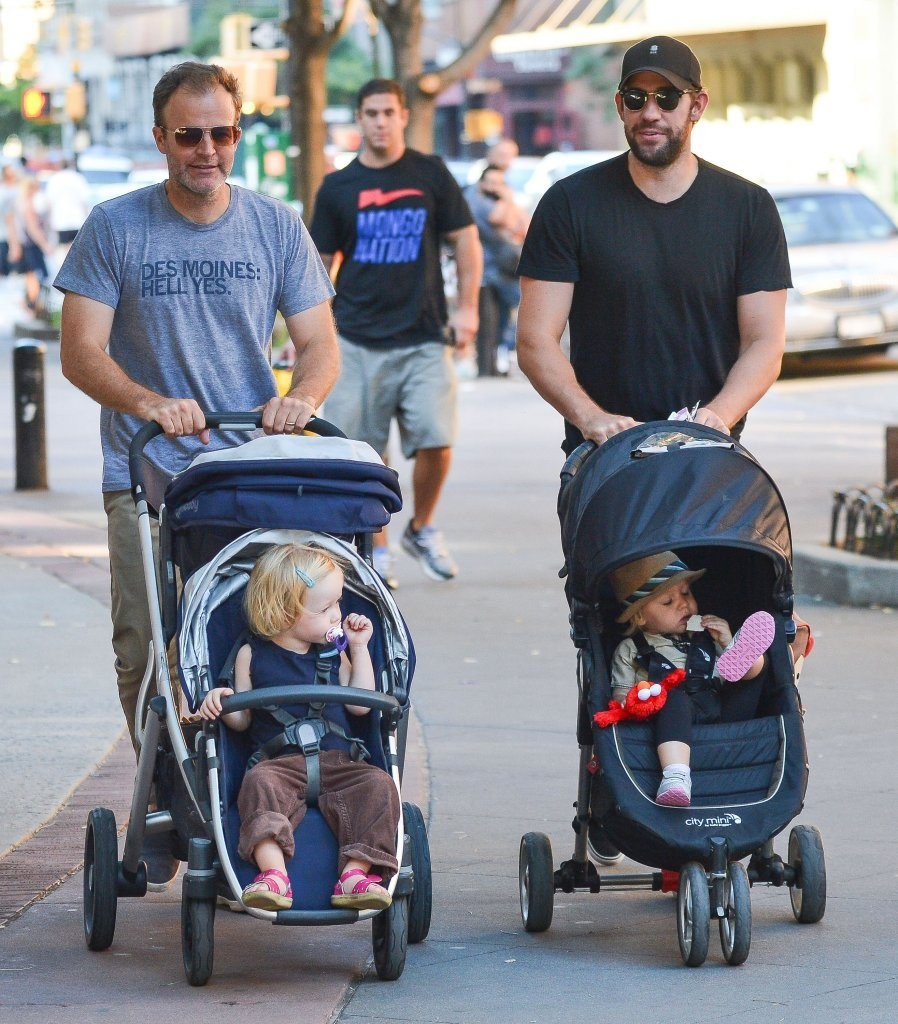 john krasinski and thomas mccarthy take their kids out for