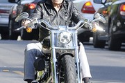 Johnny Hallyday Out Cruising On His Motorcycle
