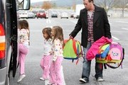 Jon Gosselin + 8 seen at the bus stop. Jon is on daddy duty as he picks up his kids from the bus stop. Leah waved/made funny faces and gestures while in her carseat before they drove back home in Reading, PA..... ****Mandatory credit: Brian Flannery/FlynetPictures.com****