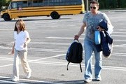 Jon Gosselin seen picking up his twin girls Mady and Cara at the bus stop in Reading, PA..... ****Mandatory credit: Brian Flannery/FlynetPictures.com****