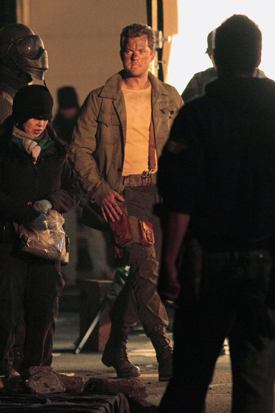 "Canadian actor Joshua Jackson is seen with bruises and dirt all over his face on the set of ""Fringe"" in Vancouver. The scene appears to be taking place in the aftermath of an explosion."