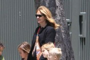 Actress Julia Roberts chaperones a field trip for her son Henry Moder to the Los Angeles County Museum Of Natural History in Los Angeles, California on May 24, 2013.