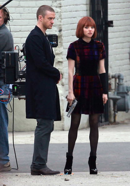 Justin Timberlake and Amanda Seyfried making out for the upcoming movie 'Now' in Downtown Los Angeles, CA.