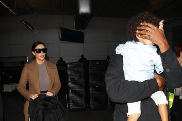 Kanye West Kim & Kanye Touch Down At LAX