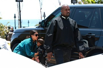 Kanye West North West Kim Kardashian Grabs Lunch At Nobu With Her Family