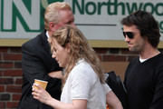 Actress Kate Winslet gets a visit from her boyfriend Ned Rocknroll on the set of 'Labor Day' in Shelburne, Massachusetts on June 7, 2012. The couple held hands as they strolled around the set and Kate was seen enjoying a cup of tea
