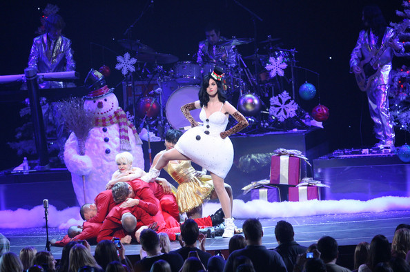 Katy Perry Katy Perry performing live at the KIIS FM Jingle Ball 2010 concert at the Nokia Theatre in Los Angeles, CA.