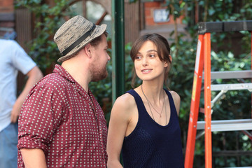 Keira Knightley James Corden Stars On The Set Of 'Can A Song Save Your Life?'
