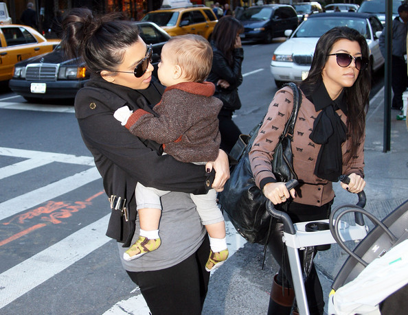 Kim Kardashian Giving Her Nephew A Kiss In New York
