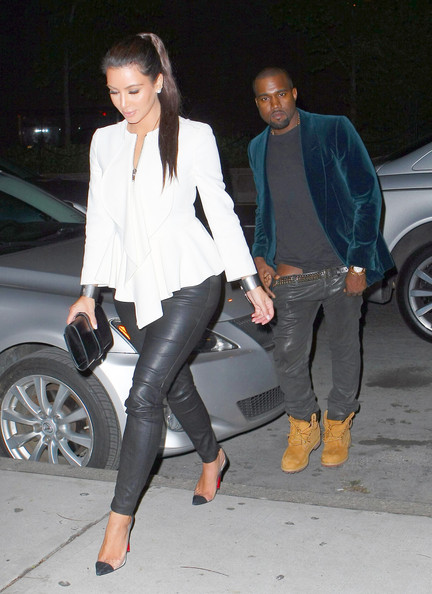 Reality star Kim Kardashian and beau, hip-hop artist Kanye West were seen heading into his apartment after their dinner date at N62 in New York, New York on April 27th, 2012.