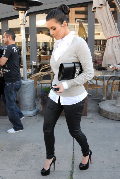 Kim Kardashian Socialite Kim Kardashian seen leaving the Breadbar with a friend after lunch in West Hollywood, CA.