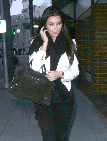 Kim Kardashian Socialite Kim Kardashian getting her nails done at a nail salon in Beverly Hills, CA.