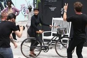 Kim Kardashian Suffers Bike Riding Fail on Set **NO INTERNET USE W/O PRIOR AGREEMENT**