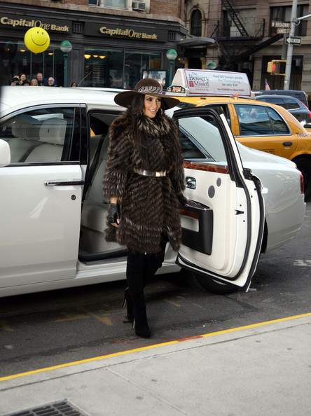 Kim Kardashian Rolls Up In A Rolls Royce Covered In Fur Pictures