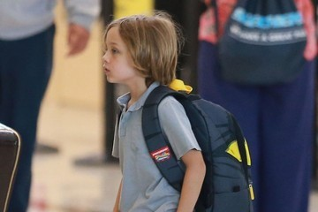 Knox Jolie-Pitt Brad Pitt and Angelina Jolie Departing Los Angeles With Their Kids