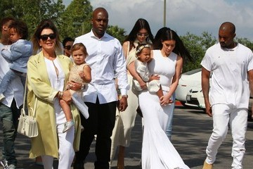 Kris Jenner Kanye West and Kim Kardashian Attend Church on Easter Sunday