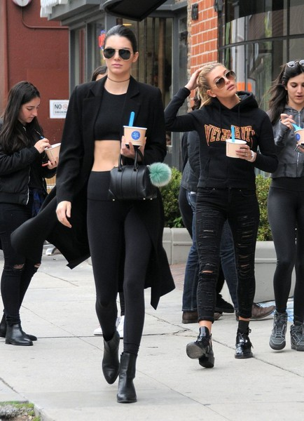 Kylie Jenner and Hailey Baldwin's Black Outfits