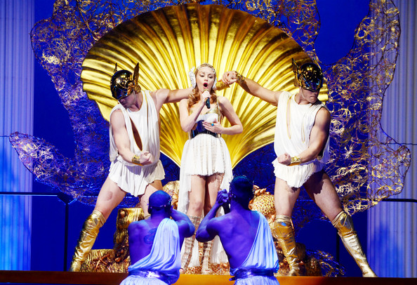 Kylie Minogue Pop singer Kylie Minogue performs live on stage during a concert at the Olympiahalle in Munich, Germany.