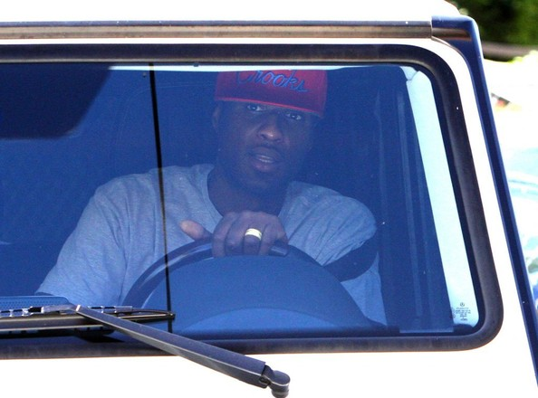 Lamar Odom picks up fast food in the San Fernando Valley, California on August 28, 2013.