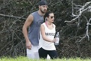 Lea Michele & Matthew Paetz Walk Hand In Hand At TreePeople Park