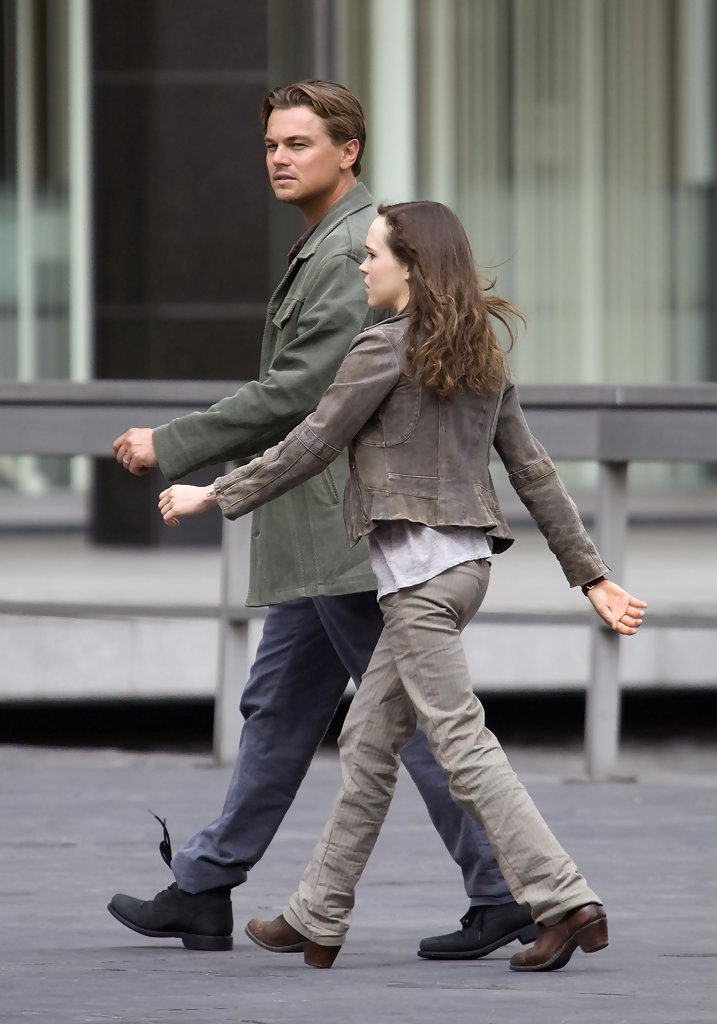 Leonardo DiCaprio & Ellen Page On Set Of 'Inception' - Zimbio эллен пейдж
