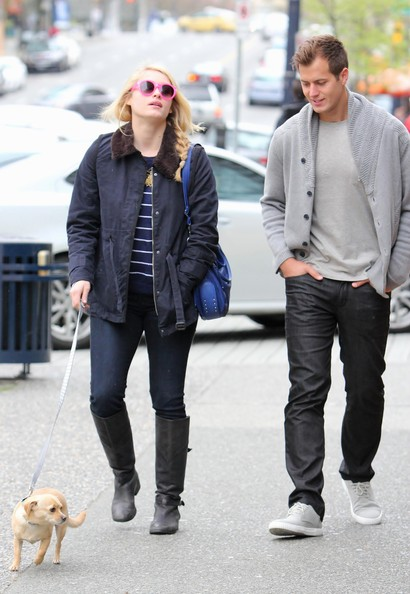 Leven Rambin Takes Her Dog for a Walk with Brother Joseph