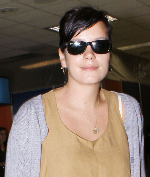 Singer Lily Allen is pictured arriving at Los Angeles International Airport (LAX)