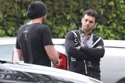'Dancing With The Stars' dancers Maksim Chmerkovskiy and Tony Dovolani having an argument in a parking lot in West Hollywood, California on March 31, 2013. Maksim seemed to be the one with the problem and Tony didn't seem interested in what he had to say.
