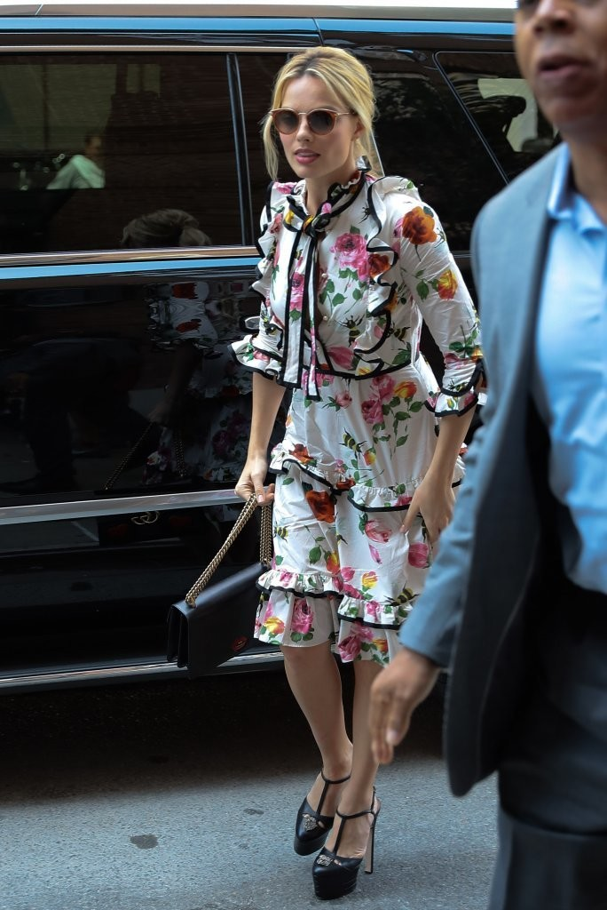 Margot Robbie in Floral Print Dress - Spotted at Her Hotel In NYC 7/28/2016 celebzee.com