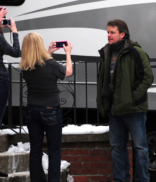 Actor Matt Damon filming 'Contagion' in Western Springs, IL. Matt is seen driving a car and taking a coffee break.