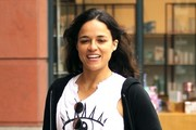 Actress Michelle Rodriguez grabs some juice at 'Pressed Juicery' in Beverly Hills on April 07, 2016. In a recent interview with TMZ, the 'Fast And Furious' star spoke about her difficulty dealing with the death of her former co-star, Paul Walker. Rodriguez spoke about taking Ayahuasca and experiencing jealously that Walker was in the next world while she was still here.