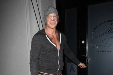 Mickey Rourke Celebrities Dine Out At Craig's Restaurant