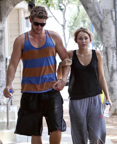 Liam Hemsworth and Miley Cyrus - Miley Cyrus And Liam Hemsworth Leaving A ...